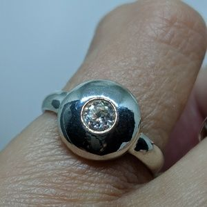 Jewelry - Sterling Silver Round CZ Stone Ring Size 6